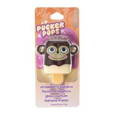 Gloss parfum banane-fraise motif singe par Pucker Pops