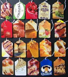 Upcycled Tags Food set of 20 strung by ScreamingScissors on Etsy, $3.00