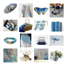 """Etsy Blues"" by dorataya ❤ liked on Polyvore featuring interior, interiors, interior design, home, home decor, interior decorating, WALL, Hostess, Blue and etsyfresh"