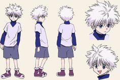 Killua Zoldyck (キルア=ゾルディック, Kirua Zorudikku) is the heir of the Zoldyck Family, until he runs away from home and becomes a Hunter. He is the best friend of Gon Freecss. Killua, Hisoka, Alluka Zoldyck, Character Reference Sheet, Character Model Sheet, Character Modeling, Drawing Reference, Hunter X Hunter, Hunter Anime