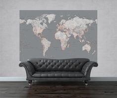 Shop - Silver World Map Mural (S) | Annandale Wallpapers