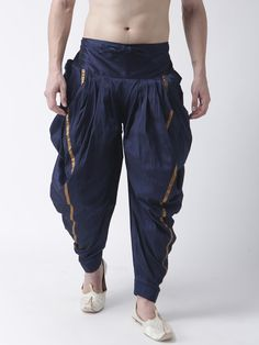 DEYANN Men Navy-Blue Solid Silk Dhoti - | 1345 India Fashion Men, Indian Men Fashion, Mens Fashion Wear, Dhoti Pants For Men, Gents Coat, Wedding Kurta For Men, Boys Kurta Design, Kurta Men, Mens Kurta Designs