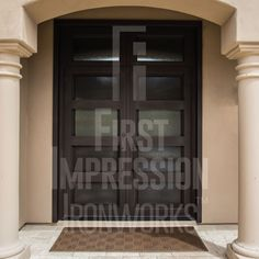 Contemporary Iron and Glass Entry Doors by First Impression Ironworks provides security and beauty to your home. #irondoors #irondoor #IronEntryDoor #IronEntryDoors #homestyle #frontdoors #ContemporaryStyle #FrontDoorEnvy #CurbAppeal #SecurityDoor #SecurityDoors #MadeInUSA