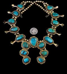 171g Vintage Navajo Sterling Silver Squash Blossom Necklace w Marvelous Morenci Turquoise Stones! Unique Gold Washed Silver! Magical!