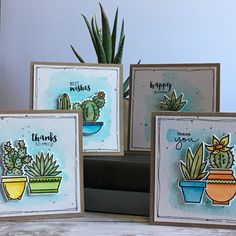 "25 Likes, 4 Comments - Linda Layton (@linda_layton) on Instagram: ""Quick little birthday gift, a set of four, 3X3 cards. I used #honeybeestamps - Stick with Me stamps…"" Cactus, Homemade Birthday Cards, Homemade Cards, Honey Bee Stamps, Bee Cards, Congratulations Card, Card Sketches, Greeting Cards Handmade, Christmas Cards"