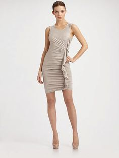 BCBG Max Azria, Side Ruched Dress in Heather Pumice [Click Through to Shop]