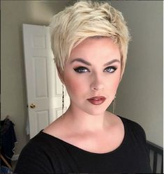 Pixie haircuts are one of the most beautiful and stylish short hairstyles, and in 2019 short pixie hairstyles are still hot and getting one is the perfect way to stand out from the crowd. Short Curly Wigs, Short Pixie Haircuts, Cute Hairstyles For Short Hair, Short Hair Cuts For Women, Pixie Hairstyles, Short Hair Styles, Women Pixie Haircut, Pixie Haircut For Round Faces, Funky Short Hair