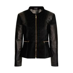 A-Line Quilted Jacket ($540) ❤ liked on Polyvore featuring outerwear, jackets, black, leather zip jacket, black zipper jacket, zipper jacket, real leather jacket and black quilted jacket