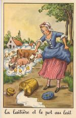 Fables de la Fontaine - Book 'The dairywoman and the milk pot'. Fables by Jean de la Fontaine: French fabulist and poet, 8 July 1621 – 13 April (Photo by Culture Club/Getty Images) Fairy Land, Fairy Tales, Fables D'esope, Denis Zilber, D Book, Culture Club, Create Words, Old Postcards, Sweet Memories