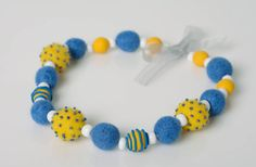 Handmade Bright Women's Felted Wool Bead Necklace With Polymer Clay Element for sale online Felt Necklace, Crochet Necklace, Beaded Necklace, Felted Wool, Wool Felt, Head Bands, Organza Ribbon, Felt Ball, Wool Fabric