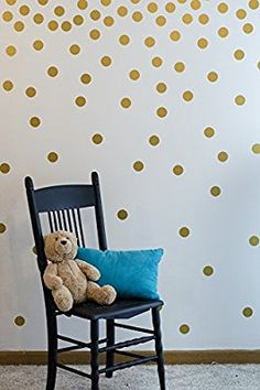 Amazon.com: Gold Wall Decal Dots (200 Decals) | Easy to Peel Easy to Stick + Safe on Painted Walls | Removable Metallic Vinyl Polka Dot Decor | Round Sticker Large Paper Sheet Set for Nursery Room (Metallic Gold): Baby