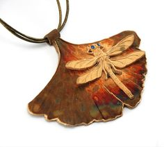 Ginkgo Biloba Leaf with Dragonfly bronze pendant by WingsAndStings, $125.00