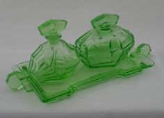 Green uranium glass dressing table set. by LincolnCollectibles