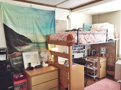 I like the storage under the bed and the use of tapestry. Also hooks on the ladder is a good idea.