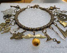 Steampunk Harry Potter Charm Bracelet,antique brass golden snitch,lighting,dragon Lord Voldemort  Deathly Horcrux charms bracelet BHP03