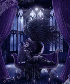 A dark angel's kiss Dark Gothic Art, Gothic Fantasy Art, Fantasy Love, Dark Art, Fantasy Men, Dark Love, Light In The Dark, Gothic Angel, Gothic Fairy