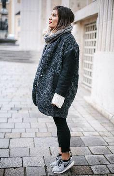 oversized tweed cocoon coat and fun statement sneakers