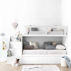 Bed with wheels- Nesting beds / Bunk beds - Children / Youth - Kenay Home Bunk Beds For Girls Room, Bunk Bed Rooms, Bunk Beds With Stairs, Kids Bunk Beds, Small Room Bedroom, Baby Bedroom, Bedroom Decor, Bed Ideas For Teen Girls, Cute Girls Bedrooms