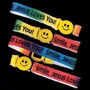 """Peace Be With U - """"Smile, Jesus Loves You"""" W/ Happy Face - Christian Bracelet, $1.99 (http://www.peacebewithu.com/smile-jesus-loves-you-w-happy-face-christian-bracelet/)"""