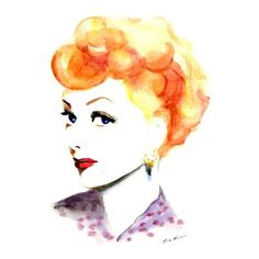 Lucille Ball Watercolor painting ❤ liked on Polyvore