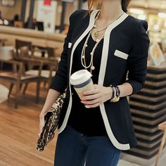 100% satisfaction guarantee!**This is a SLIM FIT item. Medium Plus fits like Slim fit large.Description:  Women's Two-Tone Blazer Fabric: Polyester, Cotton Fit: Slim Fit  Color Available: Black, White  XS Chest : 90 cm / 35 inch - Length : 65 cm / 25 inch  Shoulder : 39 cm / 15 inch - Sleeve : 62 cm / 24 inch S Chest : 94 cm / 37 inch - Length : 66 cm / 26 inch  Shoulder : 40 cm / 16 inch - Sleeve : 63 cm / 25 inch M Ch...