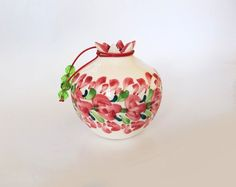Cherry pink  floral border ceramic pomegranate by IoannasVeryCHic, $18.00 Pomegranates, Floral Border, Flower Pots, Candle Holders, Cherry, Vase, Candles, Ceramics, Traditional