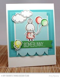 Somebunny stamp set and Die-namics, Blueprints 22 Die-namics, Inside and Out Diagonal Stitched Square STAX Die-namics - Amy Rysavy #mftstamps