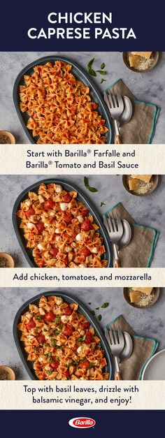 Whip together this Caprese chicken pasta for an easy family meal! Save this recipe, made with farfalle pasta, our Tomato & Basil sauce, fresh mozzarella and balsamic vinegar, for a quick and delicious dinner.