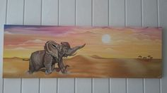 Een Afrikaans plaatje van een olifant in de woestijn,  op canvas doek