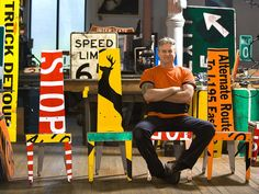 These street signs became chairs. | 15 Things That Got A Second Life As Furniture