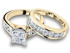 Princess Cut Diamond Engagement Ring and Wedding Band Set 1 Carat (ctw) in 10K Yellow Gold, Size 6 MyJewelryBox, http://www.amazon.com/dp/B004YNY8QQ/ref=cm_sw_r_pi_dp_qi6gsb1KHPHQ487G