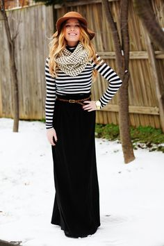 Black maxi shirt marched with strips in white/black and browns. #maxiskirts #modestsetideas ... Adorable, head to toe. Love it.