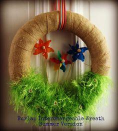 bare feet on the dashboard: Burlap and Pinwheels - A Summer Wreath