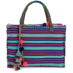 Women's Steven By Steve Madden Jlane Beaded Tassel Tote (3,875 PHP) ❤ liked on Polyvore featuring bags, handbags, tote bags, blue, summer tote bags, stripe tote, summer purses, blue tote bag and beaded purse