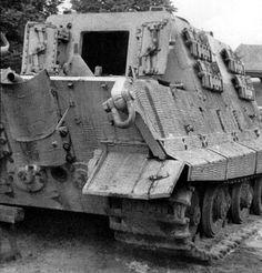 Hunting tiger, a rear view of a German Jagdtiger, tank destroyer....