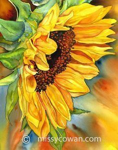 SUN DIVA - Giclee Print of Original Watercolor Painting by missycowan on Etsy♥🌸♥ Watercolour Painting, Watercolor Flowers, Painting & Drawing, Watercolor Artists, Watercolours, Art Du Monde, Sunflower Art, Sunflower Wreaths, Giclee Print