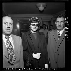 Max Solomon, alleged madam Marie Mitchell (aka Brenda Allen) and John J. Bradley in Los Angeles, Calif., 1951