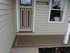 how to tile a porch entrance Downstairs verandah Front Verandah, Front Porch, Porch Entrance, Outdoor Gardens, Tiles, Garage Doors, Stairs, Flooring, Bookcases