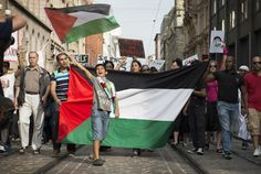 Demonstration against the attack on Gaza in Helsinki, Finland on August 9 2014.