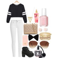Going out with friends by jp6657 on Polyvore featuring Paige Denim, ALDO, Gorjana, Tory Burch, PINK BOW, Eloquii, Victoria's Secret and Essie