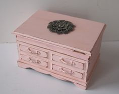 Jewelry Box Music Box Shabby Chic Painted Rose Pink And Distressed French Cottage Romantic Gift For Her. $28.00, via Etsy.