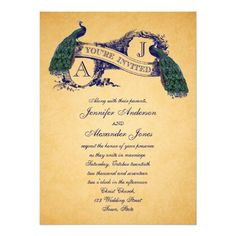 Peacock Vintage Wedding Invitation
