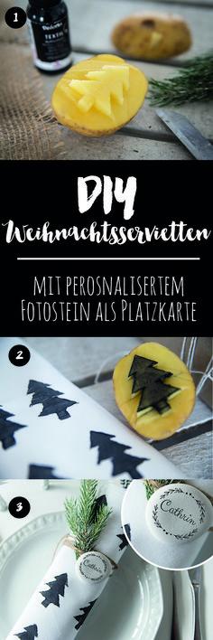 xMas DIY-Servietten mit Kartoffeldruck - DIY Weihnachtsdekoration