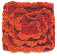 Spiral Crochet Block with Textured Stitches that makes it look like a flower!  ☀ CQ #crochet GC