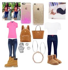 """OOTD"" by money-baby-27 ❤ liked on Polyvore featuring La Perla, UGG Australia, Polo Ralph Lauren, Miss Selfridge, Timberland, Rifle Paper Co, Casetify, MCM and Michael Kors"