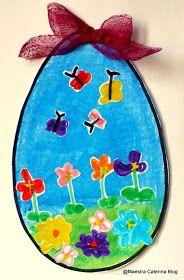 Abbiamo deciso di preparare   delle uova per la Pasqua   con una tecnica particolare   mai sperimentata prima.      Colori... Easter Crafts, Crafts For Kids, Easter Activities For Kids, Art For Kids, Kid Art, Kids Rugs, Summer School, Eggs, Learning