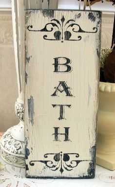 BATH shabby sign Powder room cottage chic by SignsByDiane on Etsy, $17.95 #countryshabbychicdecor
