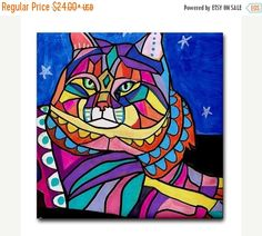 Hurry 50% Off- Siberian Cat art Tile Ceramic Coaster Print of painting by Heather Galler Cat