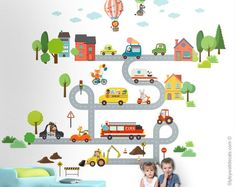 Transportation Wall Decal, Vehicles Cars and Animals Wall Sticker, Animals City Wall Decor, Roads Fire Truck Air Balloons Ambulance Bus Nursery Stickers, Wall Stickers, Fire Truck Nursery, Animal Wall Decals, Kids Wall Decals, Fire Trucks, Boy Room, Kids Bedroom, Transportation