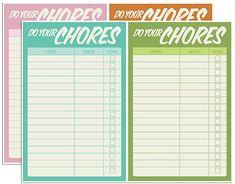 Adorable free printable Chore Charts!